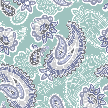 turquoise swirl: Turkish cucumber seamless ornate pattern, blue and violet style Illustration