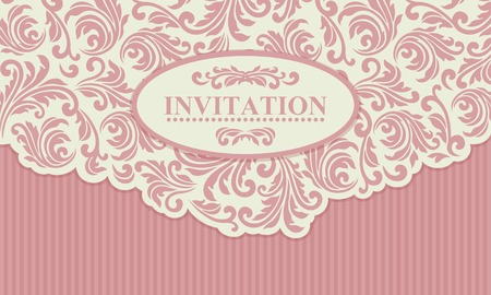 antique paper: Baroque wedding invitation card in old-fashioned style, pink and beige