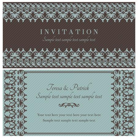 tarjeta de invitacion: Antique tarjeta de invitaci�n barroca de estilo antiguo, marr�n y azul Vectores