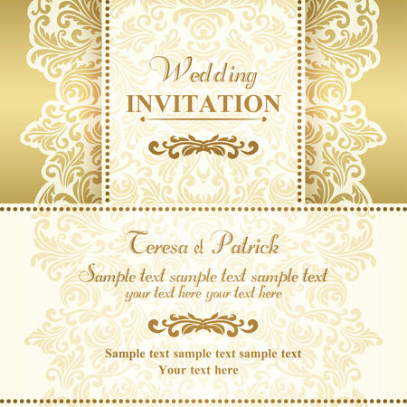 wedding invitation card: Baroque wedding invitation card in old-fashioned style, gold and beige