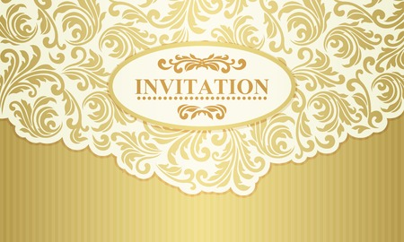 Baroque wedding invitation card in old-fashioned style, gold and beige