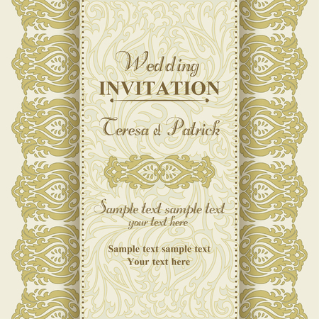oldfashioned: Baroque wedding invitation card in old-fashioned style, gold and beige