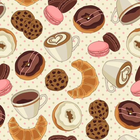 Yummy colorful chocolate cookies, donuts and cups of coffee seamless pattern, light yellow