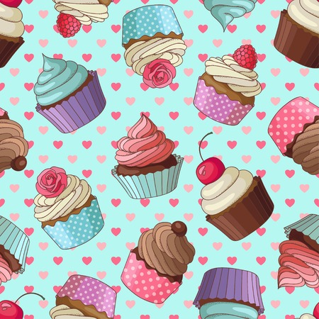 Yummy colorful cream cupcake seamless pattern with hearts, blue Ilustração