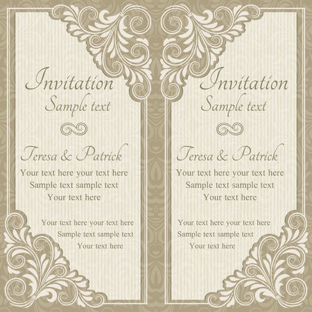 oldfashioned: Baroque invitation card in old-fashioned style, beige Illustration