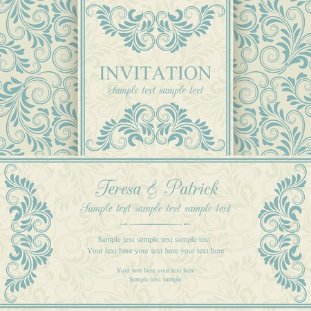 floral frame: Antique baroque invitation, blue on beige background