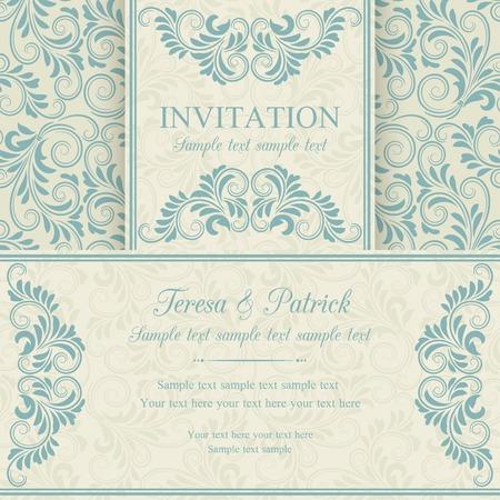 cartoline vittoriane: Invito barocco antico, blu su sfondo beige Vettoriali