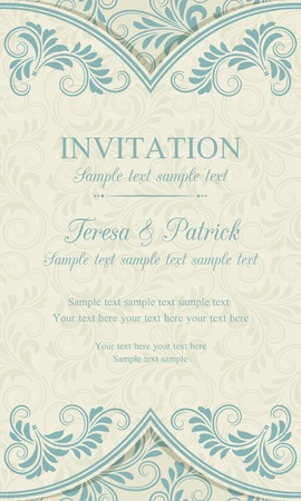 Antique baroque invitation vertical, blue on beige background