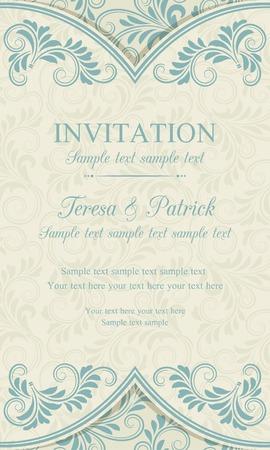 Antique baroque invitation vertical, blue on beige background Stock fotó - 36209991