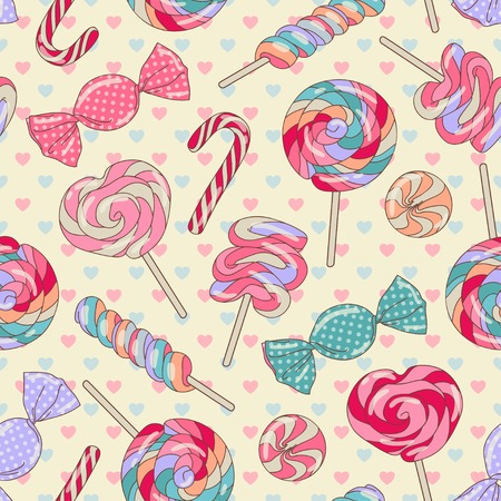 candy cane background: Yummy colorful sweet lollipop candy cane seamless pattern with hearts, yellow