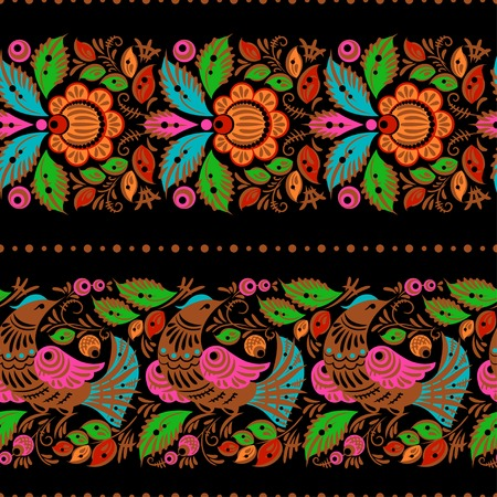 Folk gorodets traditional painting. Seamless pattern with flowers and birds, black Vector