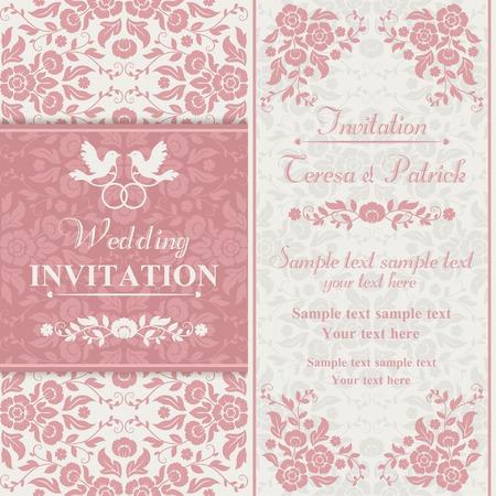 골동품 바로크 결혼식 초대 링, 핑크와 베이지 색 조류의 커플