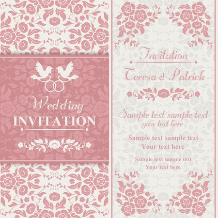 pink swirl: Antique baroque wedding invitation, couple of birds with ring, pink and beige