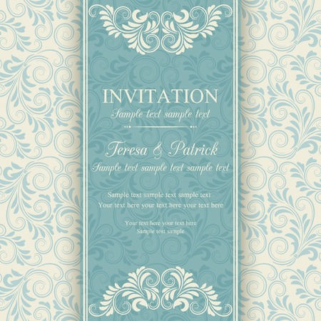 antique background: Antique baroque invitation, blue on beige background