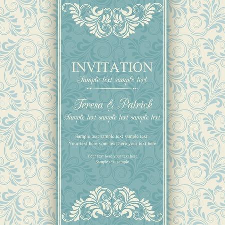 turquesa: Invitación barroco antiguo, azul sobre fondo color beige