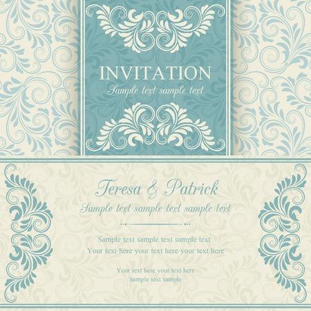 Antique baroque invitation, blue on beige background Stock fotó - 36510508