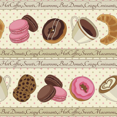 brownie: Yummy colorful chocolate cookies, donuts macaroons, croissants and cups of coffee seamless pattern, light yellow Illustration