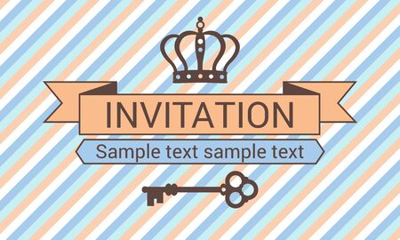 brown swirl: Striped invitation with crown and key, orange and blue