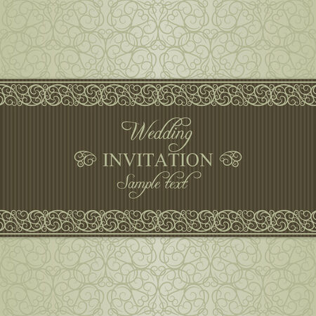 dull: Baroque wedding invitation card in old-fashioned style, dull gold on beige background Illustration