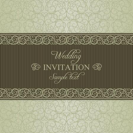 dull: Tarjeta de invitaci�n de la boda de estilo barroco anticuado, aburrido de oro sobre fondo de color beige