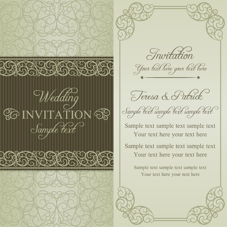 oldfashioned: Baroque wedding invitation card in old-fashioned style, dull gold on beige background Illustration
