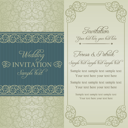 oldfashioned: Baroque wedding invitation card in old-fashioned style, blue and beige