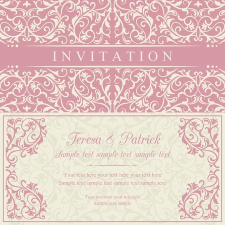 Antique baroque invitation card in old-fashioned style, pink and beige