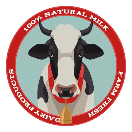 cow cartoon: Black and white cow label with bell, front view, red style Illustration