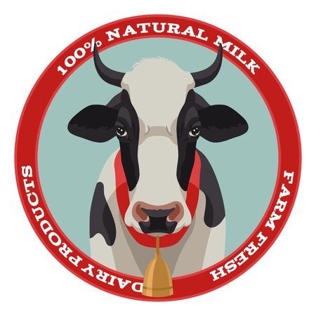 vaca caricatura: Etiqueta en blanco y negro de la vaca con la campana, vista frontal, estilo rojo