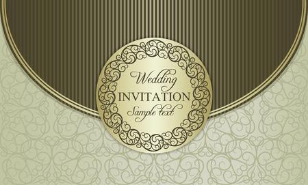 gold brown: Antique baroque wedding invitation envelope, ornate round frame, gold, brown and beige