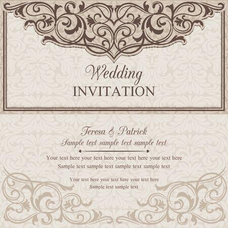 Tarjeta de invitación de la boda barroco en anticuado estilo, marrón y beige