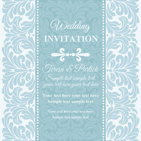 holiday border: Antique baroque wedding invitation card in old-fashioned style, blue and white