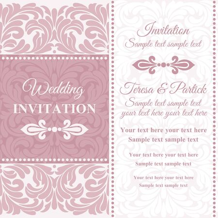 Antique baroque wedding invitation card in old-fashioned style, pink and white