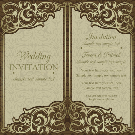 gold swirls: Antique baroque wedding invitation, brown on beige background