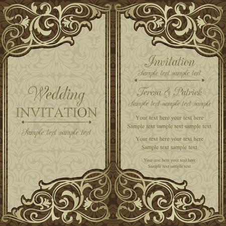 cartoline vittoriane: Antique invito a nozze barocco, marrone su fondo beige Vettoriali