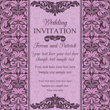 Antique baroque wedding invitation, violet and pink