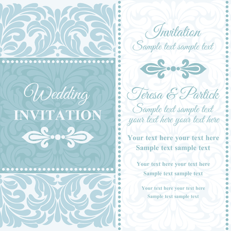 Antique baroque wedding invitation card in old-fashioned style, blue and white