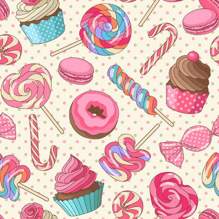 caramel candy: Yummy colorful sweet lollipop candy macaroon cupcake donut seamless pattern, yellow Illustration
