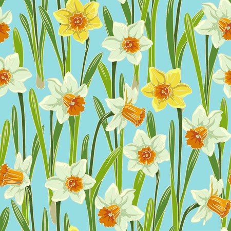 jonquil: Yellow white jonquil daffodil narcissus seamless pattern, blue background