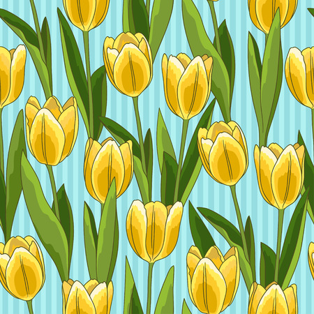 Yellow tulip flower spring seamless pattern or background, blue background