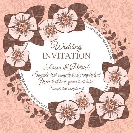 Romantic vintage wedding invitation card with floral elements, beige
