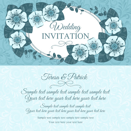 Romantic vintage wedding invitation card with floral elements, blue