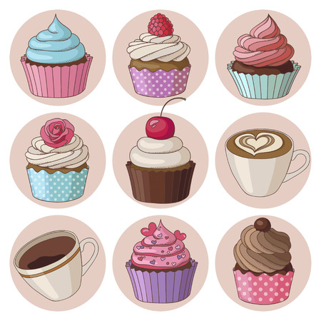 Yummy colorful cream cupcakes, cups of cappuccino, espresso coffee, isolated set