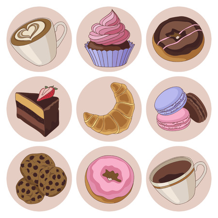 Yummy colorful chocolate cookies, donuts macaroons, croissants and cups of coffee, isolated set