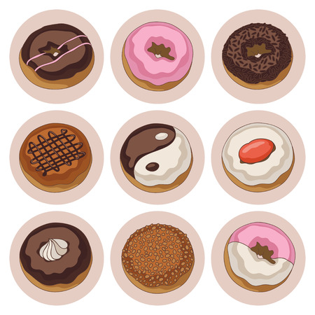 Yummy colorful chocolate and cream donuts, isolated set