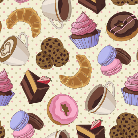 chocolate cupcakes: Yummy colorful chocolate cupcakes, cookies, pie, donuts and cups of coffee seamless pattern, light yellow Illustration