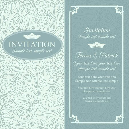 Antique baroque wedding invitation card in old-fashioned style, blue
