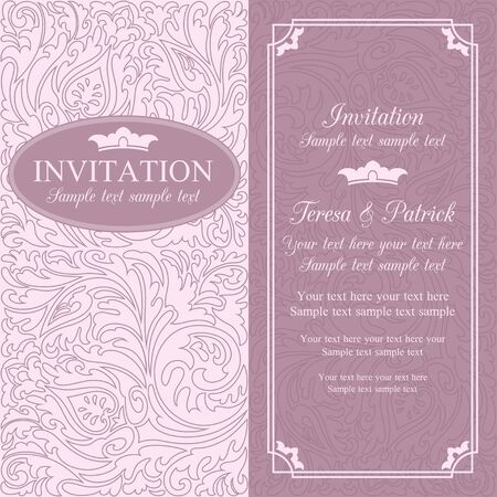 Antique baroque wedding invitation card in old-fashioned style, pink