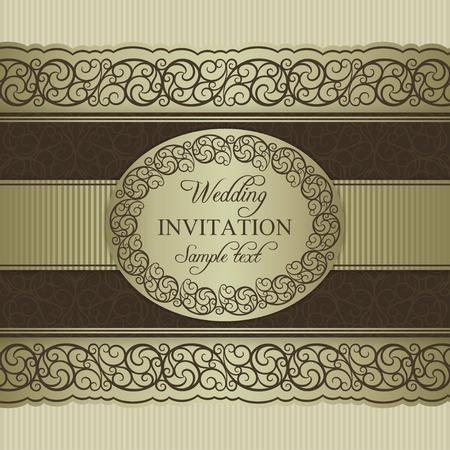 Antique baroque wedding invitation, ornate round frame, beige and brown
