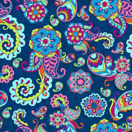 Turkish cucumber psychedelic seamless ornate pattern, blue style